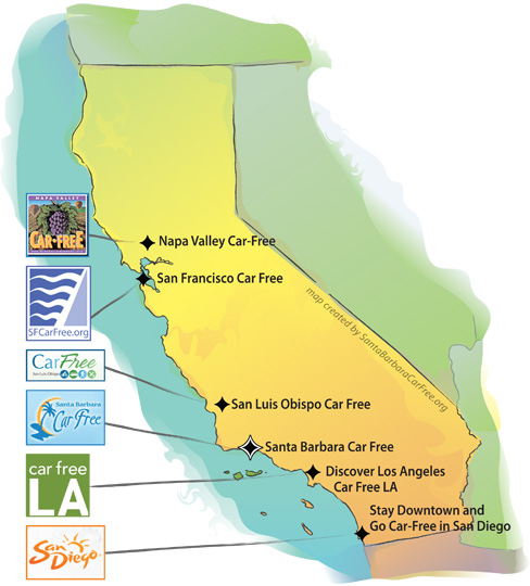 Map of Car Free programs in California