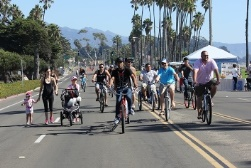 Bikers, walkers, and others filled the streets.